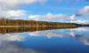 Spiegelglatte Wasseroberfläche vom Stechlinsee im Herbst